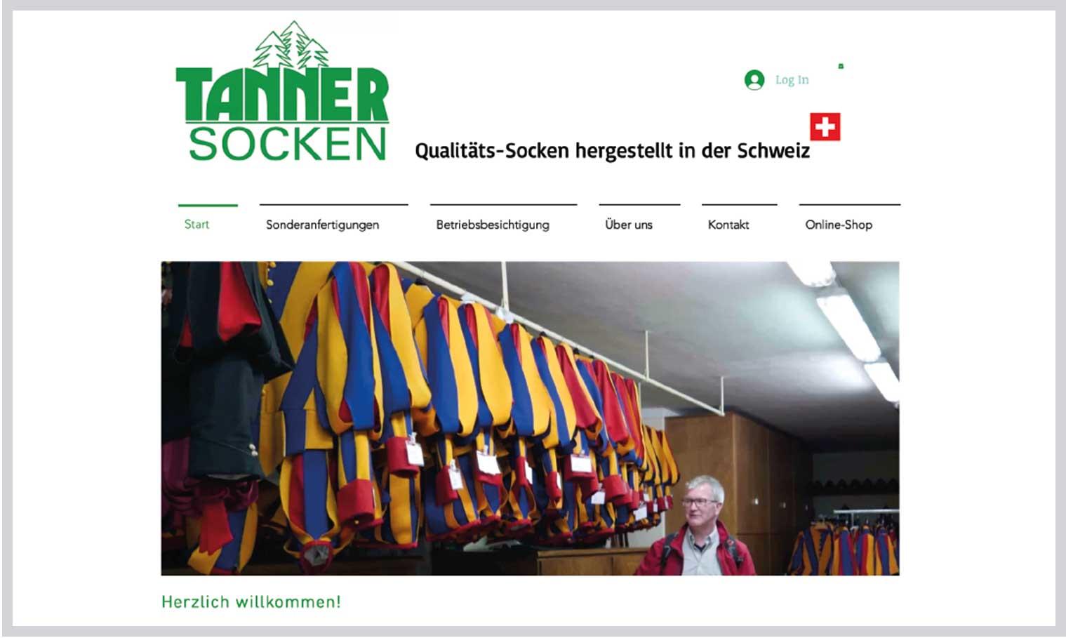 Tannersocken Webseite alt