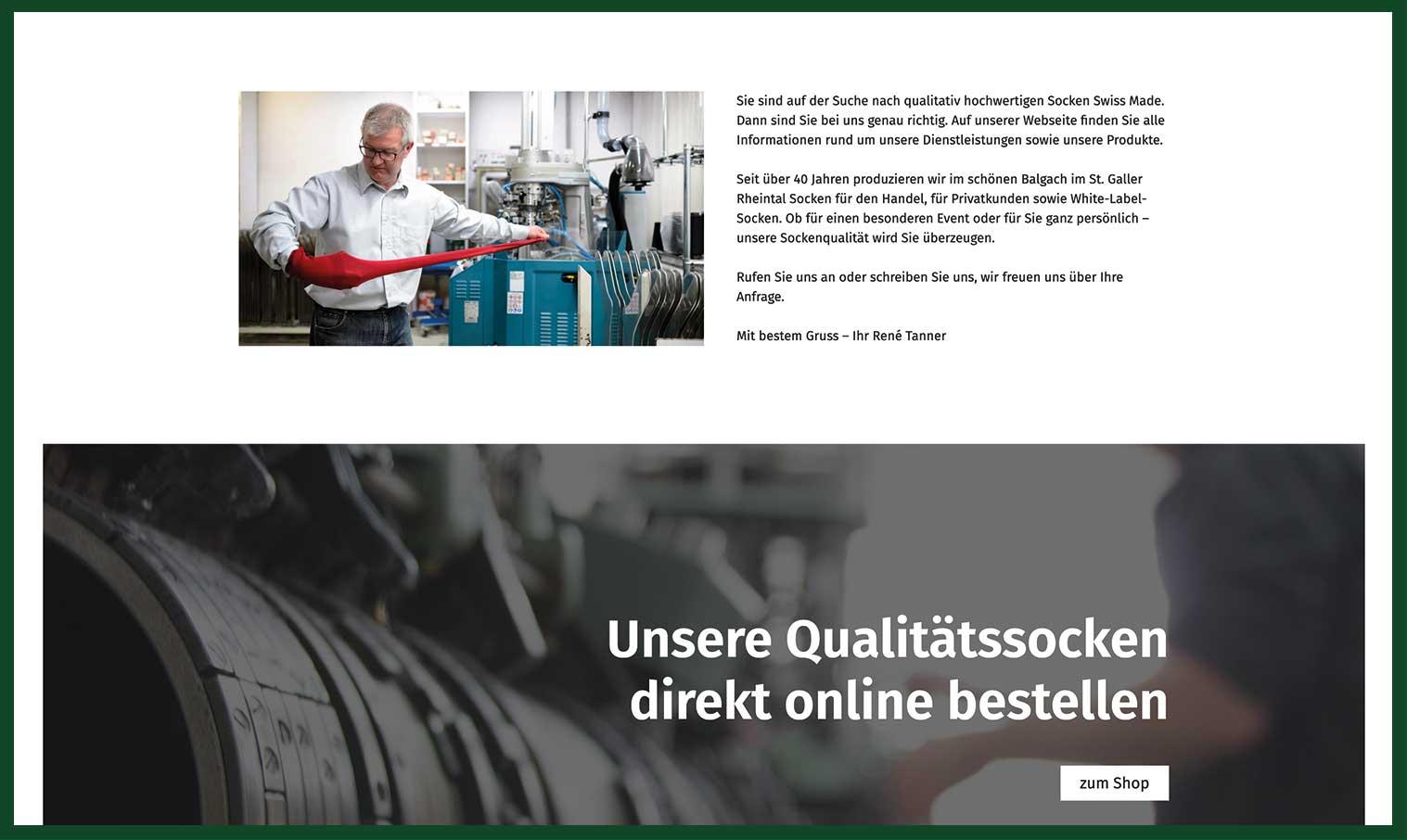 Tannersocken Webseite